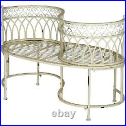 Kissing Bench Curved Metal Tete a tete Garden Chair Outdoor Vintage Patio Seat