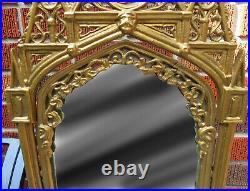 Large 24.25 Antique Gilded Cast Iron Gothic Cathedral Design Tilt Vanity Mirror