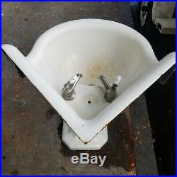 Large Antique Cast Iron White Porcelain Corner Sink Pedestal Vtg Bath K