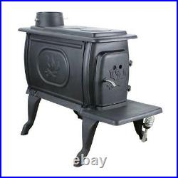 Logwood 900 sq. Ft. Rustic Cast Iron Wood-Burning Stove with Cooking Range Top