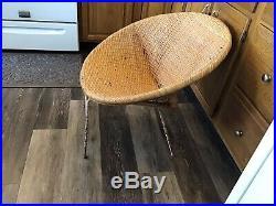 MID CENTURY MODERN 1950 Wicker Rattan Hoop Lounge Chair Abraham Albini Style 28