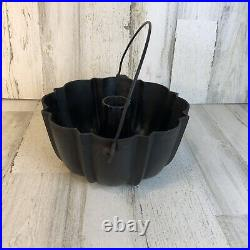 Made By GRISWOLD Frank W. Hay Cast Iron Bundt Cake Pan Mold With Bail Handle