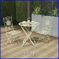Metal Folding Bistro Table Chair Set Outdoor Seating Patio Garden Antiqued