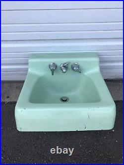 Mid Century Modern Porcelain Cast Iron Jade / Teal / Mint Green Bathroom Sink