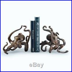 Octopus Bookends Nautical Coastal Sea Decor Bronze Iron Sculpture Book Ends
