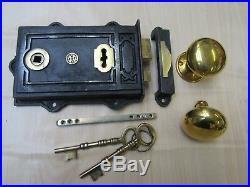 Old Vintage Victorian Rustic Retro Rim Door Lock Latch + Rim Door Knob Set