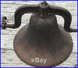 Old Vtg Antique Original Cast Iron School House Dinner Bell No 3 Hand Crank 18