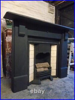 Original Slate Fire Surround WITH Original Cast Iron Tiled Fireplace Insert