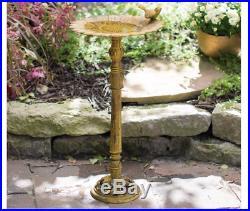 Outdoor Bird Bath Patio Sunflower Water Backyard Cast Iron Pedestal Garden Yard