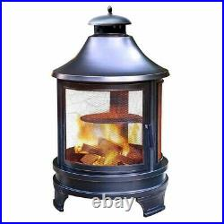 Outdoor Heater Cooking Fire Pit w Cast Iron BBQ Grill Steel Fire Poker & Ash Pan