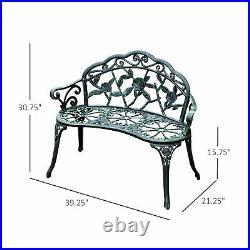 Outdoor Patio Garden Bench Yard Park Furniture Cast Aluminum Antique Rose Design