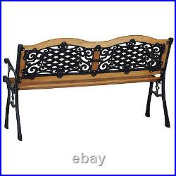Outdoor Patio Garden Hardwood Slats Bench Furniture Cast Iron Frame Park Chair