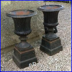 Pair Of Antique Victorian Heavy Cast Iron Garden Urns On Stands. Great Size 27