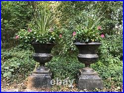 Pair Of Rare Antique Marked Kramer Brothers Cast Iron Garden Planters Urns