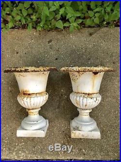 Pair of Vintage Antique Cast Iron Garden Planters Urns