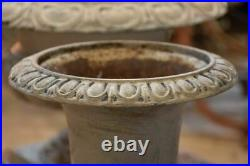 Pair of antique French Medici urns 2 French garden urns cast iron