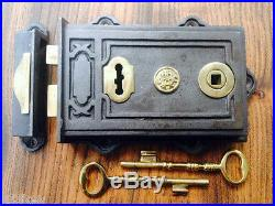 Quality Davenport Victorian Style Cast Iron & Brass Rim Lock