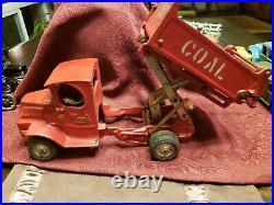 RARE Large Antique Arcade Cast Iron Mack COAL Truck Toy with Driver NR