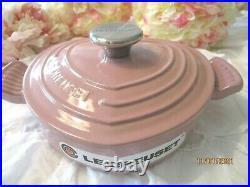 RARE Le Creuset CAST IRON HEART BUFFET DUTCH OVEN Antique Pink Rose 1 QT NEW