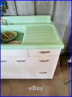 RARE UNTOUCHED 72 JADEITE GREEN Cast Iron Porcelain Double Sink DRAINBOARD