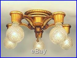 REWIRED Antique Art Deco 5 Light Gold Flush Chandelier Fixture ORIGINAL FINISH