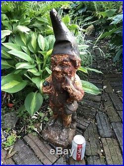 Rare Antique 26.5 Tall Cast Iron Garden Gnome Statue
