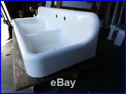 Rare Antique Cast Iron White Porcelain Double Basin Sink Left Drainboard 484-16
