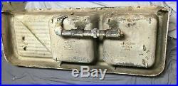 Rare Antique Cast Iron White Porcelain Double Basin Sink Right Drainboard 362-19