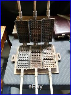 Rare Antique Griswold No. 13 Cast Iron 3-Waffle Hotel Waffle Iron Maker with Base