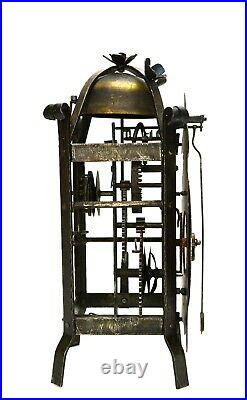 Rare Antique South Germany Gothic Cast Iron Lantern Bracket Wall Clock c. 1750