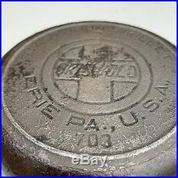 Rare Vtg Griswold 2 Cast Iron Skillet 703 Slant Logo Erie Heat Ring Antique Htf