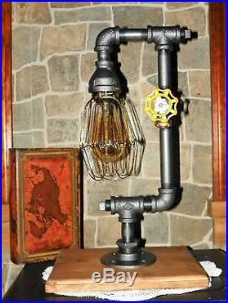 Retro industrial pipe desk/table lamp, Steampunk, edison, antique