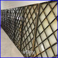 Set of 8 Reclaimed Diamond Pattern Cast Iron Windows