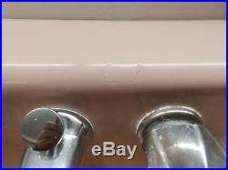 Small Vtg Standard Lite Pink Porcelain Cast Iron Shelf Top Bathroom Sink 4450-15