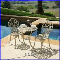 Sonoma Outdoor Vintage Style Cast Aluminum Bistro Set with Tulips