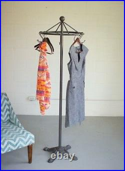 Spinning Clothes Rack Cast Iron Base Antique Vintage Style Garment Stand