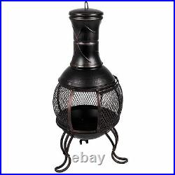 Steel Chiminea Fire Pit Outdoor Garden Patio Heater Burner BBQ By Home Discount