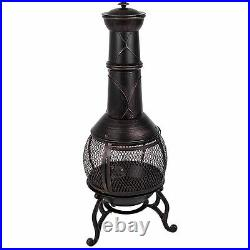 Steel Chiminea Large Fire Pit Outdoor Garden Patio Heater BBQ By Home Discount