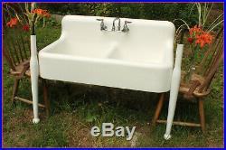 Stunning Complete 5-Piece Antique Cast Iron Farmhouse Farm Laundry Kitchen Sink