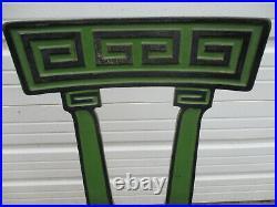 Stunning Pair Art Deco Greek Key Design Enameled Cast Iron Soda Fountain Stools