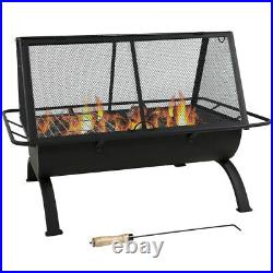Sunnydaze 36 Fire Pit Steel Northland Grill with Spark Screen and Vinyl Cover
