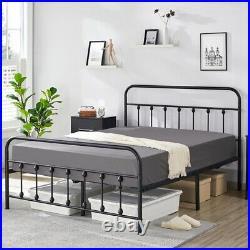 Twin/Full/Queen Metal Bed Frame Mattress Foundation withFlower Design Headboard