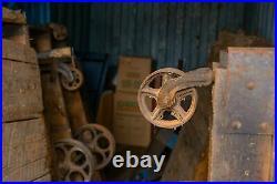 UNIQUE Antique Factory Cart w Original Cast Iron Wheels & Maker's Marks SALVAGE