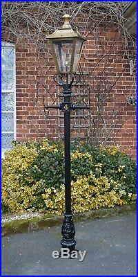 USED Ex-Display 2.3m Black Victorian Garden Lamp Post With Antique Brass Lantern