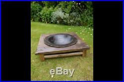 Unusual Antique Fire Pit BBQ Wood Burner Garden Stove Planter Plant Pot 66cm