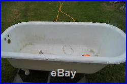 VERY LARGE Antique Claw Foot Bath Tub Cast Iron Vintage with Clawfoot Design