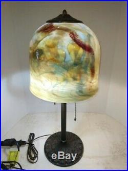 VTG Art Deco Nouveau Arts & Craft Working 2-Light Table Lamp Bronze 1900-1940's