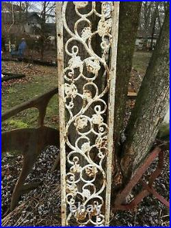 VTG Cast Iron Railing Architectural Salvage Rail Piece Garden GRAPES 73''x10.5'