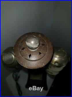 VTG Heavy Bronze-Finished Hammered Arts & Craft Mission Nouveau Lamp Pair 1900's