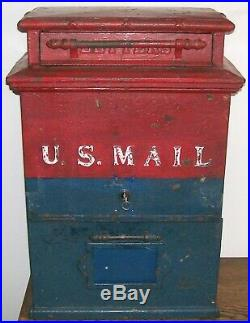 Very Rare Antique Flat Top 1909 U. S. Post Office Cast Iron Mailbox with Key VGC